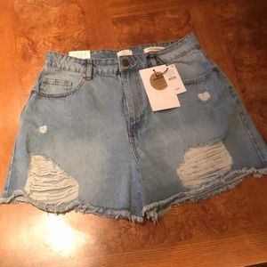 Cotton On high waisted distressed shorts